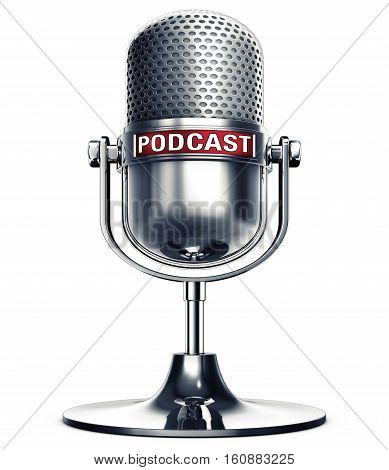 3D rendering of a microphone with a podcast icon