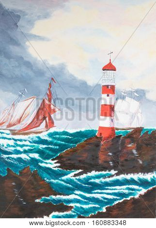Painting of two old ships sailing past a Lighthouse
