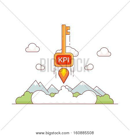 KPI growth concept. Key performance indicator skyrocket trough the sky. Tremendous business success metaphor. Modern flat style thin line vector illustration isolated on white background.