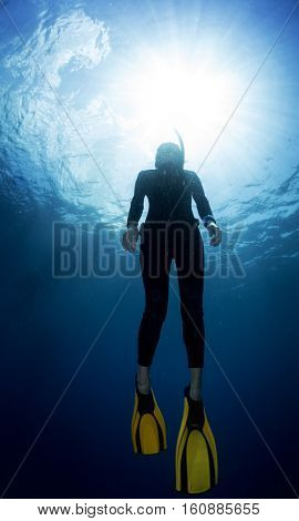 Underwater shot of the ascending free diver.