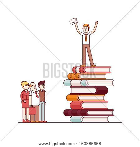 Business visionary leader and mentor speaking to group of businessman people. Standing on top of big heap of books and knowledge. Modern flat style thin line vector illustration.