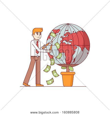 Businessman gardening world earth globe in pot for money. Big global corporation earning finances nurturing planet. Modern flat style thin line vector illustration. Concept isolated on white.