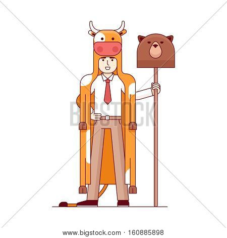 Stock exchange market bears metaphor. Businessman wearing bull pelt and holding bear head on a spear. Trading business concept. Modern flat style thin line vector illustration isolated on white.