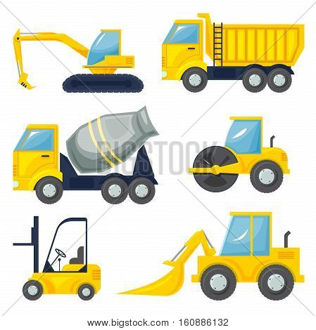 Set  of operating machinery, heavy vehicles, vector illustration