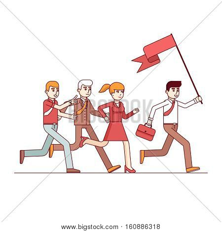 Business leader holding big flag and running leading the way to his fellow colleagues businessman people. Modern flat style thin line vector illustration. Concept isolated on white background.