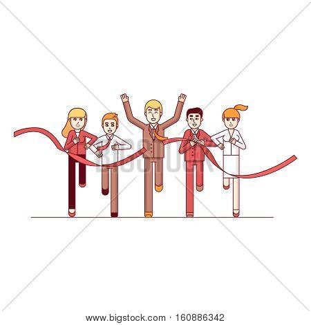 Business man running crossing finish line and tearing red ribbon finishing first in a market race. Entrepreneur businessman leader. Modern flat style thin line vector illustration concept.