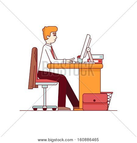 Business man working on a desktop computer at the office desk. Sitting on chair and keyboard typing. Modern flat style thin line vector illustration. Concept isolated on white background.