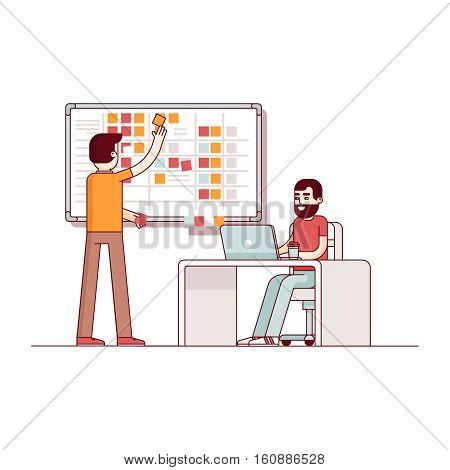 Two developers planning their work. Scrum task board hanging in a team room full of tasks on sticky note cards. Modern flat style thin line vector illustration. Concept isolated on white background.