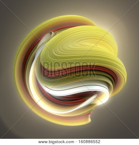 Yellow and red abstract twisted shape. Computer generated geometric illustration. 3D rendering