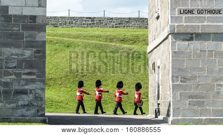 Soldiers March at The Citadel in Quebec City in Quebec Canada