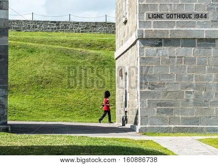Soldier Marches at The Citadel in Quebec City Quebec Canada