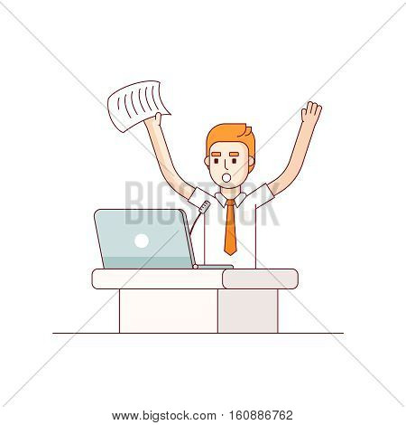 Worried business man speaker yelling at microphone waving hands and paper. Modern flat style thin line vector illustration. Concept isolated on white background.