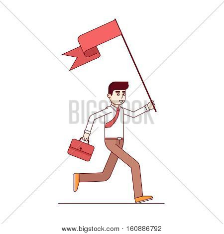 Business leader running holding big flag and leading the way. Modern flat style thin line vector illustration. Concept isolated on white background.