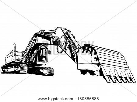 Excavator illustration art vector industry machinery theme.