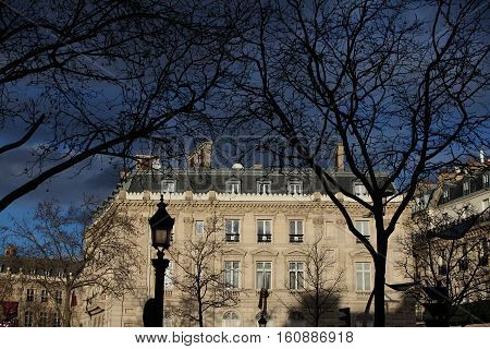 A spooky photo of the Qatari embassy in France, Champs Elysees.