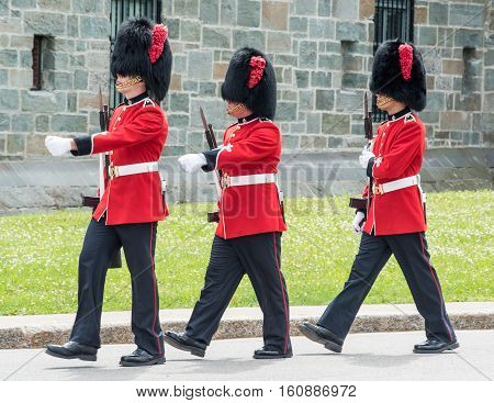 Soldiers Marching at The Citadel in Quebec City Quebec Canada