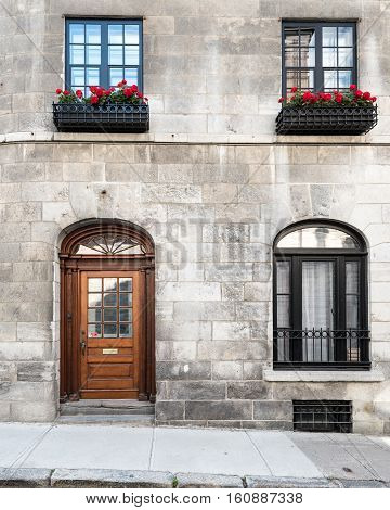 Front of a Stone Home in Quebec City Quebec Canada