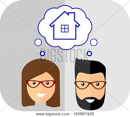 Family of dreams about the house. Flat Style. Fashionable man with beard and mustache
