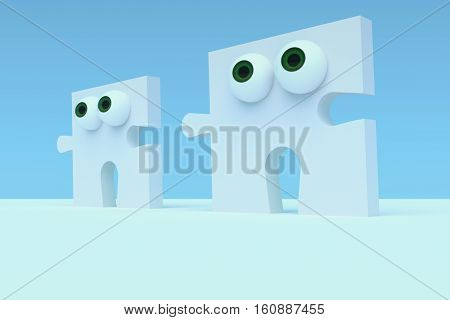 Business Concept: Cartoon Puzzle Pieces With Eyes 3d illustration