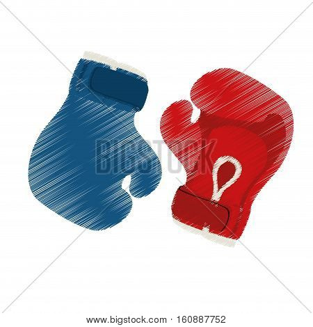 boxing gloves icon over white background. sport equipment concept. colorful and sketch design. vector illustration