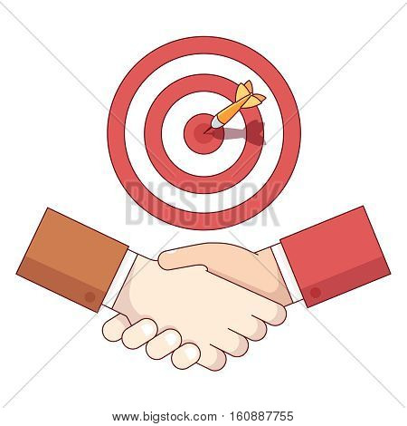 Businessman shaking hand under target aim with sticking dart. Business achievement and accomplishment concept. Modern flat style thin line vector illustration isolated on white background.