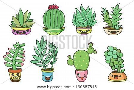 Cute cartoon cactuses and succulents with funny faces on pots Vector set with eight objects isolated on white backgrounds.