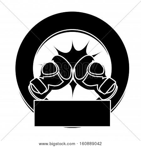 seal stamp with boxing gloves icon. sport equipment concept. over white background. vector illustration