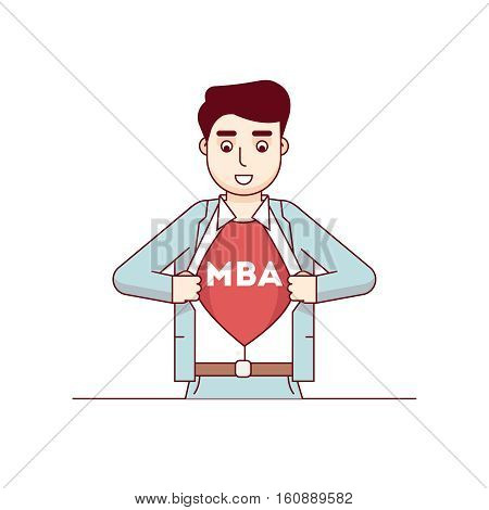 MBA student tearing shirt showing Master of Business Administration letters on his chest. Modern flat style thin line vector illustration. Concept isolated on white background.