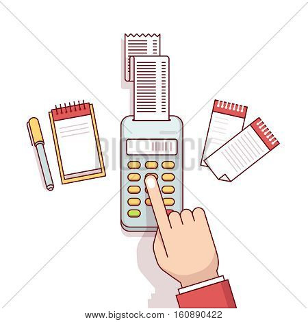 Office worker business clerk making expense calculations. Sitting at the desk with receipt printer and writing to a note book. Flat style thin line vector illustration isolated on white background.