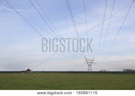 high voltage pylon and farm in rural area north of amsterdam in dutch polder purmer