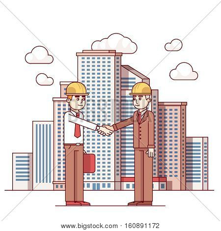 Business man shaking hands. Real estate architect and city official deal agreement. City downtown landscape with high skyscrapers piercing clouds in the sky. Flat style thin line vector illustration.