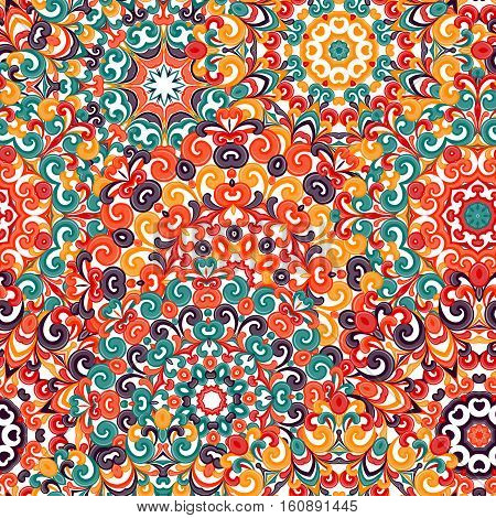 Seamless colorful ethnic pattern with mandalas in oriental style. Round doilies with green, orange, yellow, brown curls and swirls weaving in arabesque traditional lace ornament. Vector illustration.