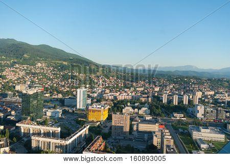 Aerial City Landscape View Of Sarajevo