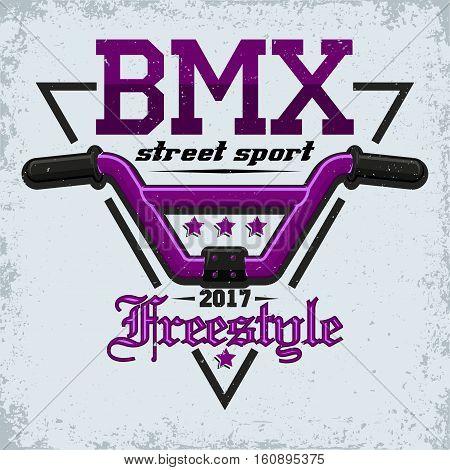 Vintage t-shirt graphic design,  grange print stamp, bmx freestyler typography emblem, sports logo Creative design, Vector