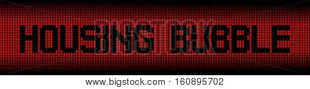 Housing Bubble text on abstract houses background illustration