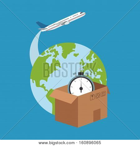 Box planet and chronometer icon. Delivery shipping and logistics theme. Vector illustration
