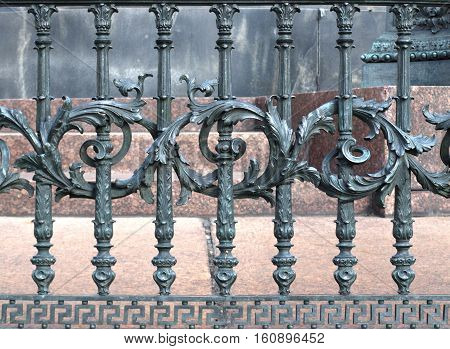 old decorative fence of wrought iron texture
