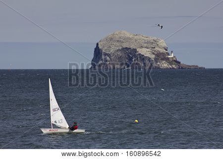 NORTH BERWICK, SCOTLAND, UK - May 2011: Bass Rock off the coast near North Berwick on the east coast of Scotland UK with sailing dinghies in the foreground.