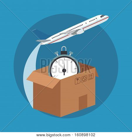 Box and chronometer icon. Delivery shipping and logistics theme. Vector illustration