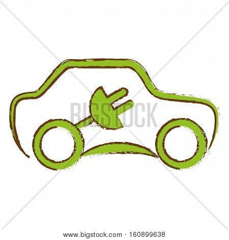 car with electric plug icon over white background. eco friendly car concept. colorful design. vector illustration