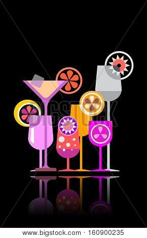 Cocktail glasses vector illustration on a black background.
