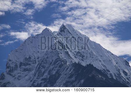 Mount Thamserku in the Everest Himalaya of Nepal