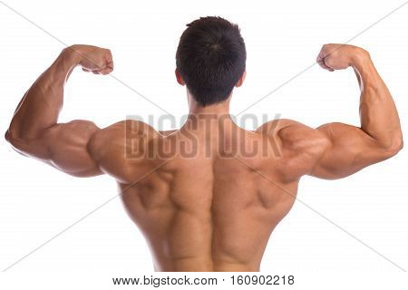 Bodybuilder Bodybuilding Flexing Muscles Posing Back Biceps Strong Muscular Young Man Isolated