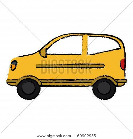 drawing hatchback car vehicle side view vector illustration eps 10