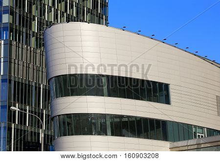 Top of the huge building in a futuristic style