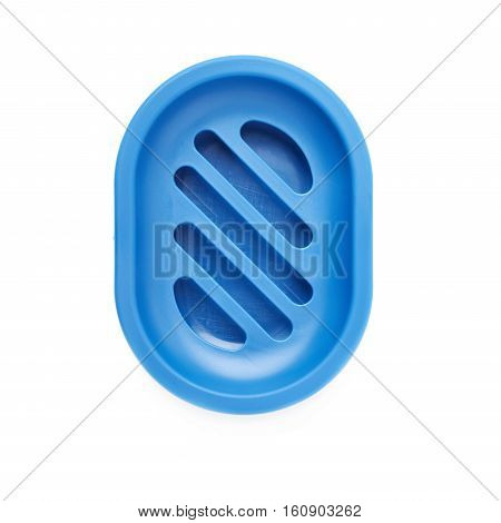 Empty blue plastic soap-dish isolated over white background