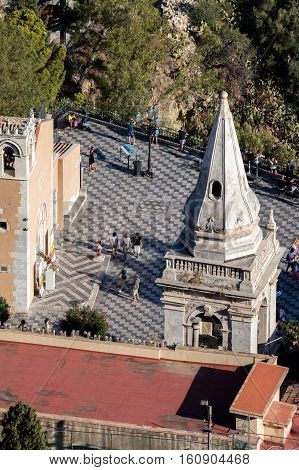 TAORMINA ITALY - AUGUST 19 2016: Bell tower of the church of San Giuseppe in Taormina built in the Baroque style in the early 18th century