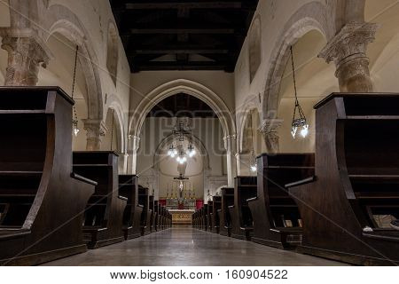 TAORMINA ITALY - AUGUST 19 2016: Interior of the Taormina Cathedral originated in the 13th century