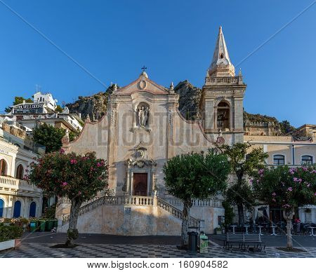 TAORMINA ITALY - AUGUST 20 2016: Church of San Giuseppe in Taormina built in Baroque style in the early 18th century.