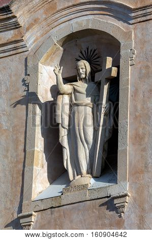 Statue Of Jesus Christ On The Facade Of San Giuseppe In Taormina